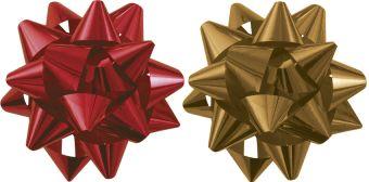 Бант-звезда, 2 штуки в PP пакете с подвесом диаметр 80 мм, Цвета: красный, золотой, эффект - металлизированное покрытие упак. 48/96 шт. Regalissimi