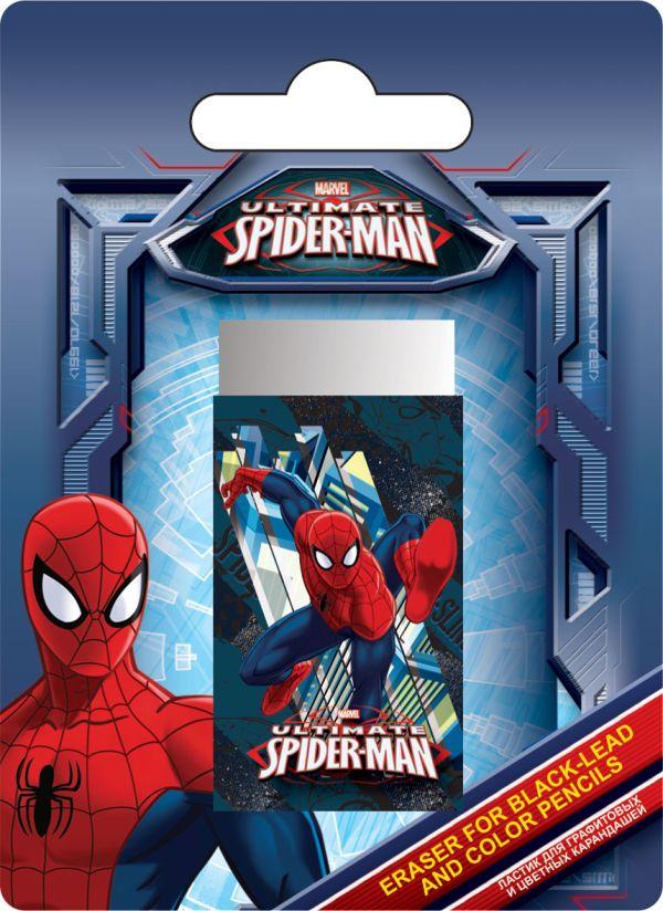 Ластик для графитовых и цветных карандашей, 1 шт. Высококачественный ластик Dust-free. Печать на бумажной обертке - полноцветная. Spider-man