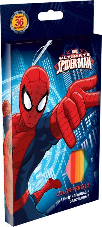 Набор цветных карандашей, 36 шт. Цветные карандаши длиной 17,8 см; заточенные; дерево - липа; цветной грифель 2,65 мм; карандаш в цвет Spider-man
