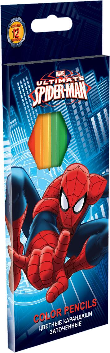 Набор цветных карандашей, 12 шт. Цветные карандаши длиной 17,8 см; заточенные; дерево - липа; цветной грифель 2,65 мм; карандаш в цвет Spider-man