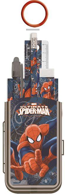 Набор канцелярский в ПП пакете с кольцом: карандаш ч/г с ластиком, пенал пластиковый складной, линейка прозрачная 15 см, ручка Spider-man Classic