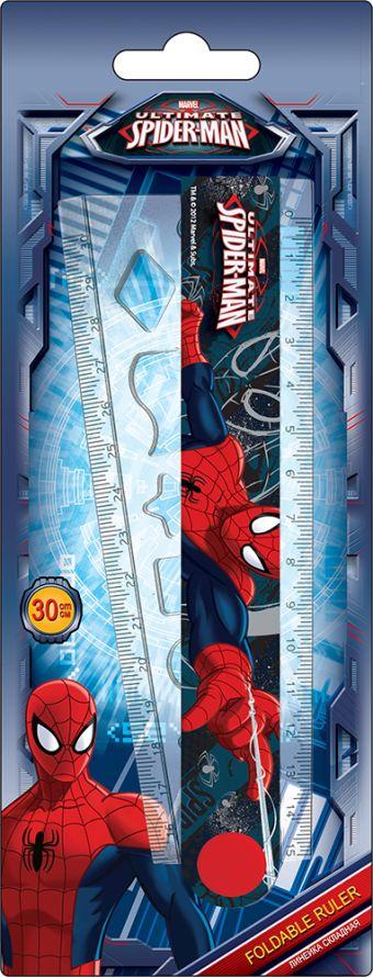 Линейка раскладная с трафаретом, 30 см, 1 шт. Печать на корпусе - термоперенос. Упаковка -блистер, 500 г/м2, 4+1, европодвес. Spider-man Classic
