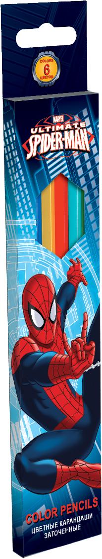 Канцтовар Набор цветных карандашей, 6 шт. Цветные карандаши длиной 17,8 см; заточенные; дерево - липа; цветной грифель 3 мм; Spider-man Classic