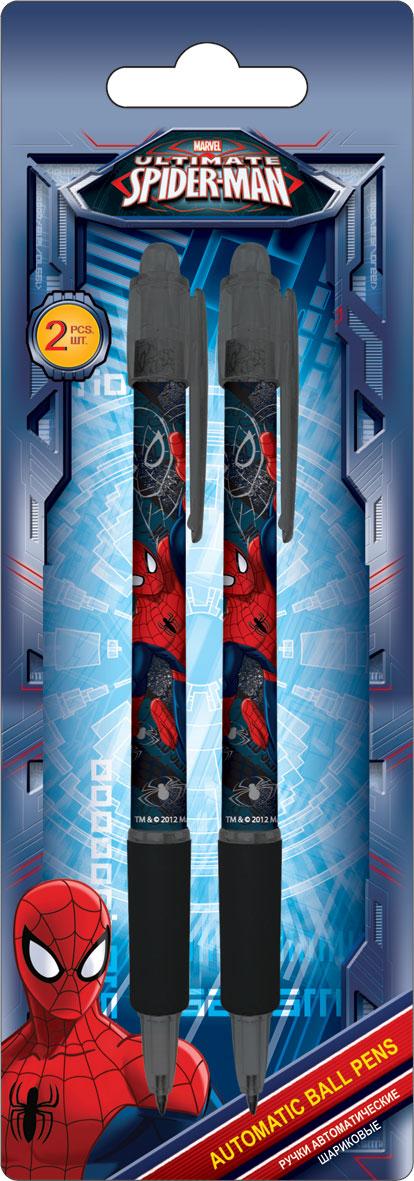Ручки автоматические шариковые, цвет пасты синий, 2 шт. Печать на корпусе - термоперенос. Упаковка - блистер, 500 г/м2, 4+1, европодв Spider-man