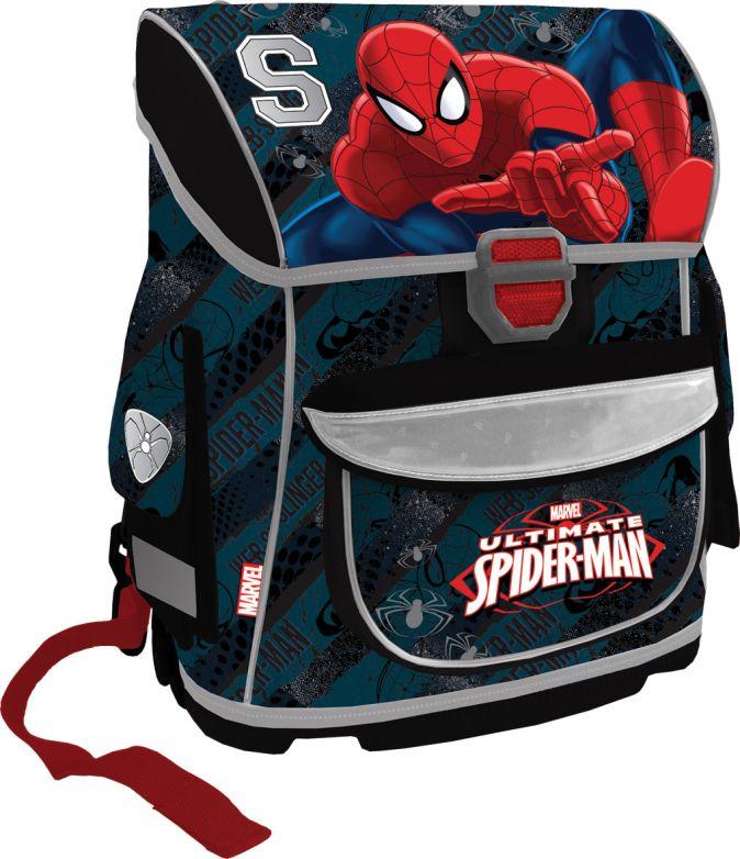 Ранец школьный, спинка - толстый поролон, жесткое дно, жесткие стенки, размер 37 х 30 х 16,5 см, упак. 4 шт. Spider-man