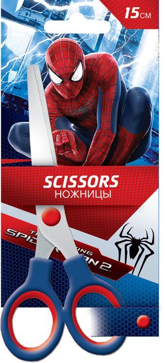 Ножницы 15 см, 1 шт. Гравировка логотипа на лезвиях. Упаковка -блистер, 500 г/м2, 4+1, европодвес. Размер 18 х 8 х 1 см Упак. 12/240 Amazing Spider-ma