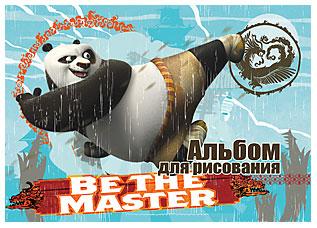 Альбом для рисования 8л скрепка Kung FU Panda