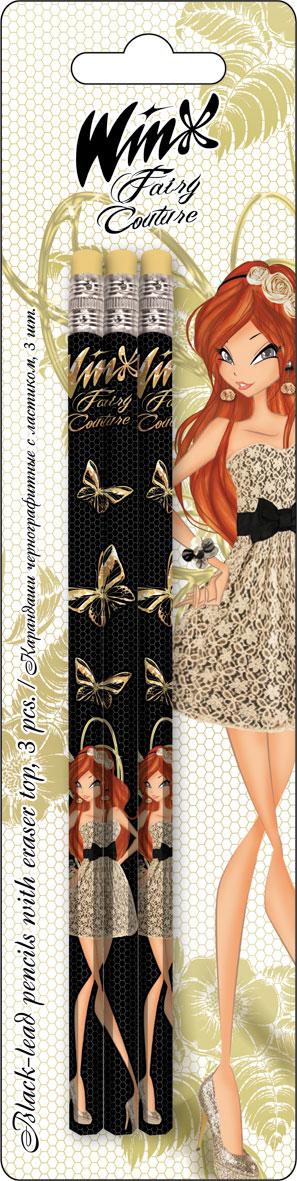 Карандаши ч/г BB, шестигранные с ластиком, 3 шт. Печать на корпусе - термоперенос. Упаковка - блистер, 500 г/м2, 4+1, европодвес. Winx Fashion (Winx F