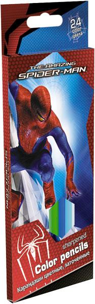 Карандаши, 24 цв. Коробка раздвижная, европодвес Spider-man