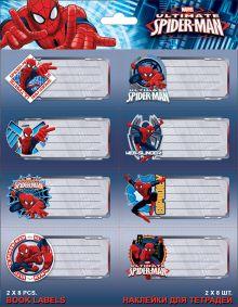 Наклейки для тетрадей Spiderman 77 x 39 мм 2 листа по 8 шт