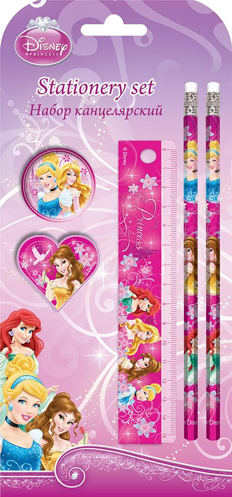 Набор канцелярский Принцесса в блистере:карандаши ч/г 2 шт,линейка 15см,ластик фигурный,точилка
