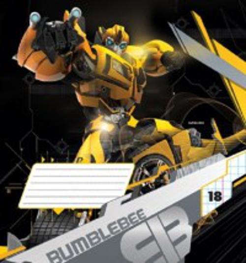 Тетрадь 18л клетка Transformers картонная обложка выб УФ фольга