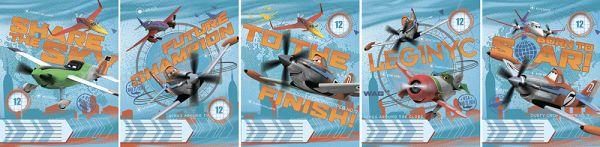 Тетрадь 12л линия Planes картонная обложка ВД лак