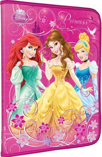 Папка для труда. Молния с 3-х сторон. Дополнительный вкладыш с креплениями для канцелярии. Толщина пластика: 0,5мм. Печать: CMYK 4+0. Princesses