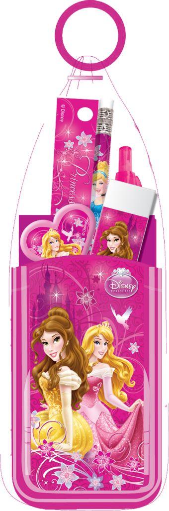 Набор канцелярский в ПП пакете с кольцом: карандаш ч/г с ластиком, пенал пластиковый складной, линейка прозрачная 15 см, ручка Princesses