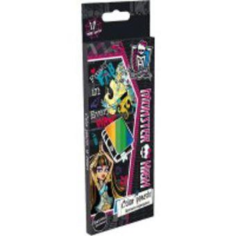 Набор цветных карандашей, 12 шт. Цветные карандаши длиной 17,8 см; заточенные; дерево - липа; цветной грифель 3 мм; Monster High