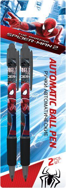 Ручки автоматические шариковые, цвет пасты синий, 2 шт. Печать на корпусе - термоперенос. Упаковка - блистер, 500 г/м2, 4+1, европодв Amazing Spider-m