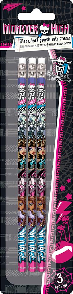 Карандаши ч/г, HB, шестигранные с ластиком, 3 шт. Печать на корпусе - термоперенос. Упаковка - блистер, 500 г/м2, 4+1, европодвес.  Monster High