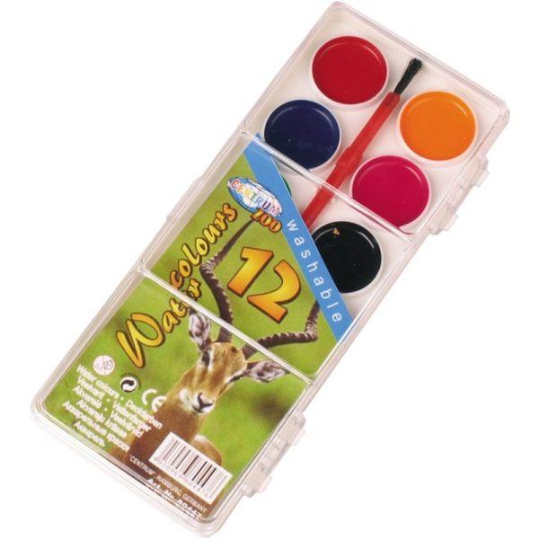 """Акварель медовая 12 цветов """"ZOO"""" с кистью в пластиковой упаковке с прозрачной крышкой в термопленке. Диаметр ячейки для заливки краски 20 мм."""
