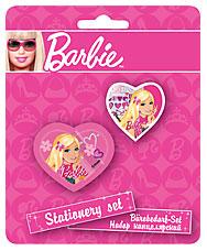 Набор канц. в блистере: точилка большая, ластик фигурный Барби