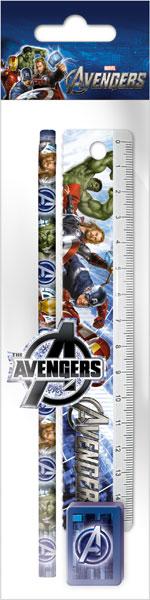 Набор канц. в ПП пакете с подвесом: линейка 15 см, карандаш, точилка, ластик 23х5,2х1,5 см Avengers