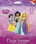 """Пластилин Disney """"Принцессы"""" 12 цветов, с европодвесом"""