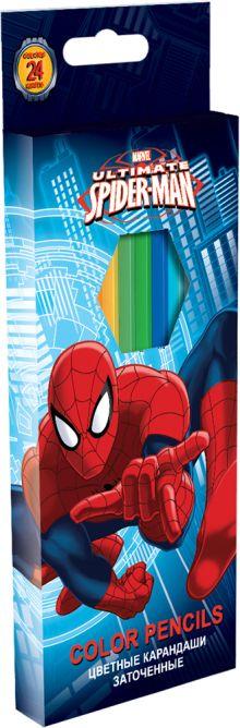 Набор цветных карандашей, 24 шт. Цветные карандаши длиной 17,8 см; заточенные; дерево - липа; цветной грифель 3 мм; карандаш в цвет Spider-man Classic