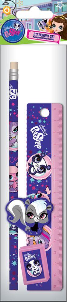 Набор канцелярский в ПП пакете с подвесом: линейка прозрачная 15 см, карандаш, точилка малая, ластик фигурный.  Размер 23х5,2х1,5 см Littlest Pet Shop
