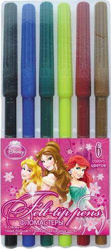 Набор цветных фломастеров, 6шт. Размер одного фломастера - 14,6 х 0,8 см, (с колпачком). Колпачок - вентилируемый, в цвет наконечника, Princesses