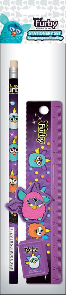 Набор канцелярский в ПП пакете с подвесом: линейка прозрачная 15 см, карандаш, точилка малая, ластик фигурный.  Размер 23х5,2х1,5 см Furby