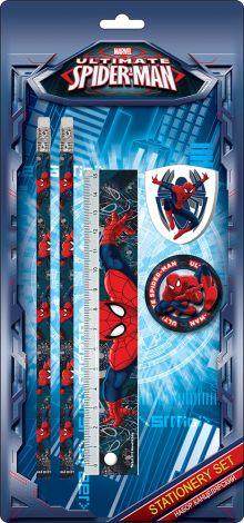 Набор канцелярский в блистере: карандаши ч/г 2 шт., линейка прозрачная 15 см, ластик фигурный, точилка.  Размер 25,5 х 12,5 х 2 см Spider-man Classic