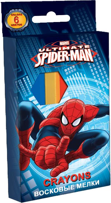 Восковые мелки, 6 цветов, диаметр 10 мм. Упаковка - картонная коробка 4+0.  Размер 8 х 13 см Упак. 24/96 шт. Spider-man Classic