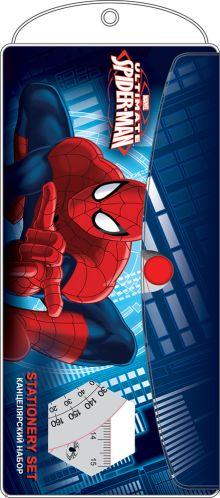 Набор канцелярский в ПП пакете с подвесом: ПВХ пенал, линейка 15 см 1 шт., треугольник 2 шт., транспортир 1 шт.  Spider-man Classic