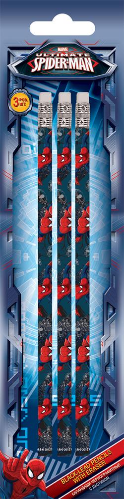 Карандаши ч/г, HB, шестигранные с ластиком, 3 шт. Печать на корпусе - термоперенос. Упаковка - блистер, 500 г/м2, 4+1, европодвес.  Spider-man Classic