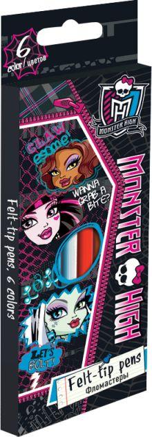 Набор цветных фломастеров, 6 шт.  Размер одного фломастера ?  14,3х0,8 см. (с колпачком). Высококачественный нетоксичный пластик, Monster High