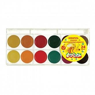 Акварель Каляка-Маляка 24 цв. круглая пласт.уп. акварель каляка маляка 12 цв карт уп