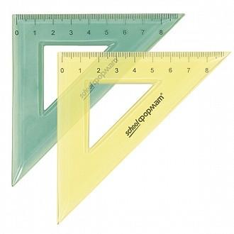 Треугольник 45 гр 9 см пласт. ассорти полупрозр.
