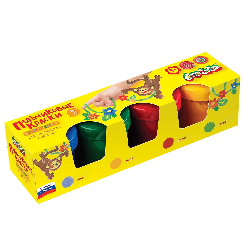 Краски пальчиковые Каляка-Маляка 110 мл 4 цв. карт.уп. бежевый цв 21