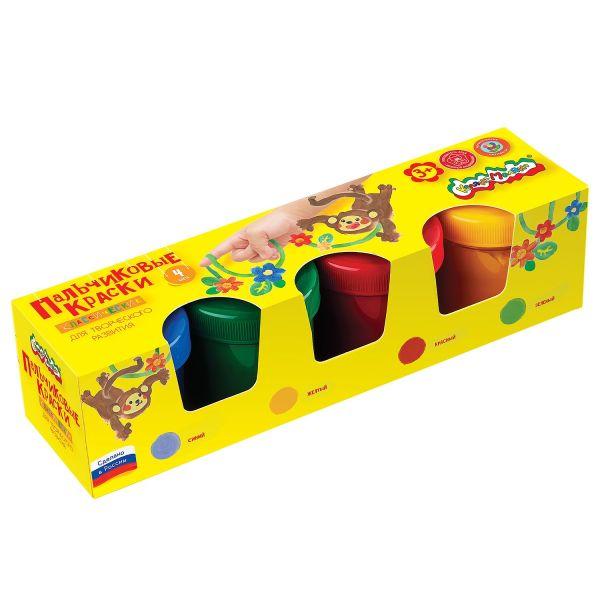 Краски пальчиковые Каляка-Маляка 110 мл 4 цв. карт.уп.