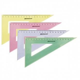 Треугольник 30 гр 20 см пласт. ассорти полупрозр.