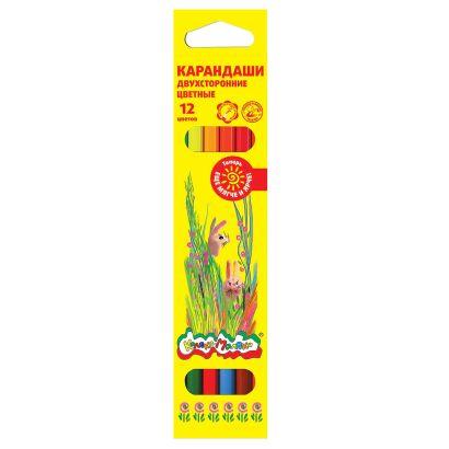 Набор цветн.каранд Каляка-Маляка 6 шт 12 цв. шестигранные с заточкой двусторонние - фото 1