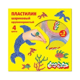Пластилин шариковый крупнозернистый «Каляка Маляка». 4 цвета