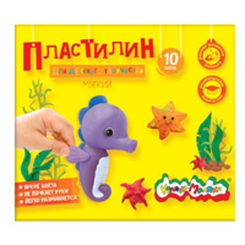 Пластилин Каляка-Маляка для детского творчества 10 цв. 150,00 г стек хаки цв 39