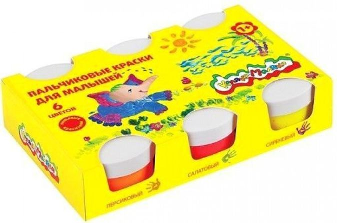 Краски пальчиковые для малышей  Каляка-Маляка 60 мл 6 цв.  карт.уп.