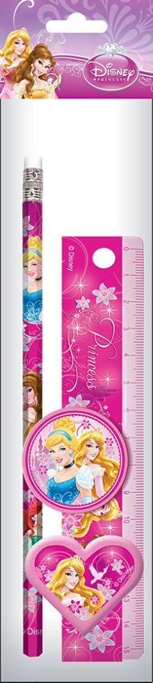 Набор канцелярский в ПП пакете с подвесом: линейка прозрачная 15 см, карандаш, точилка малая, ластик фигурный.  Размер 23х5,2х1,5 см Princesses