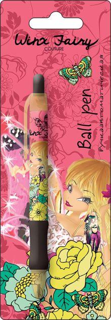 Ручка шариковая, цвет пасты синий, 1 шт. Печать на корпусе - термоперенос. Упаковка - блистер, 500 г/м2, 4+1, европодвес.  Winx Fashion (Winx Fairy Co