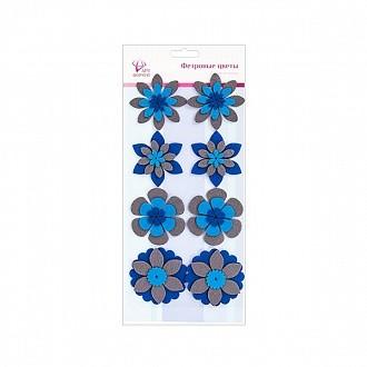 Декор фетровые цветы синие оттенки