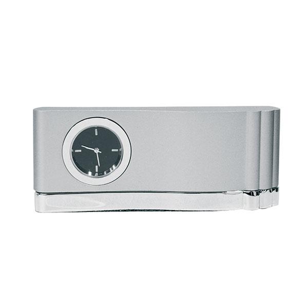 Часы наст. металл прямоугольные круглый циферблат серый