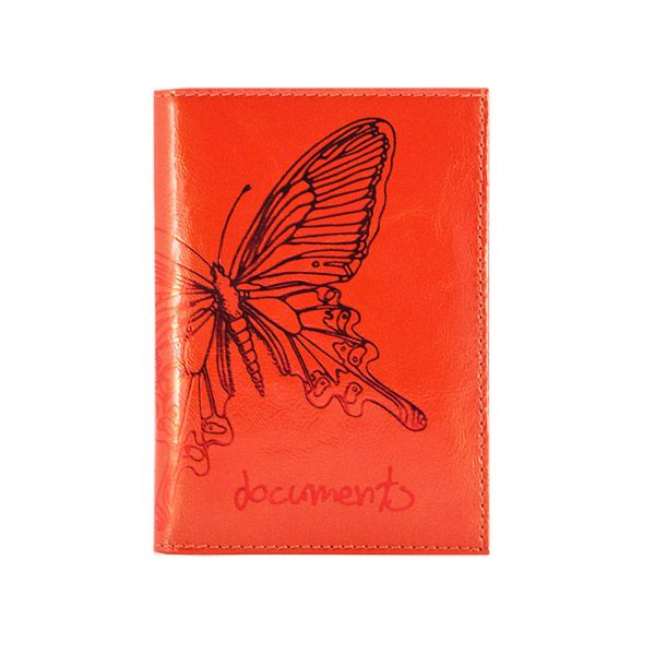 Бумажник водит. жен. PARADISL тисн. бабочка  кожа красн.корал