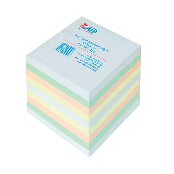 Блок д/зап. 9х9х9см Куб прокл.4 цв. 80 г/м2